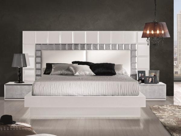 Gallery bed headboards salamandra leather tiles - Dormitorios modernos en blanco y plata ...